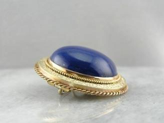 Midnight Blue: Vintage Lapis and Classical Gold Brooch