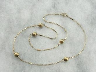 Vintage Brushed Gold Bead Link Chain Necklace
