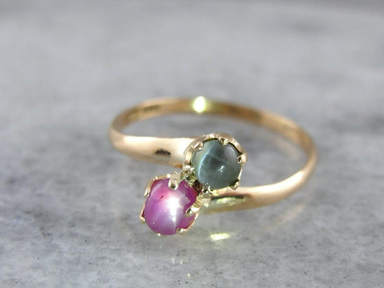 Fantastic Pink Star Sapphire and Chrysoberyl Cat's Eye Bypass Ring