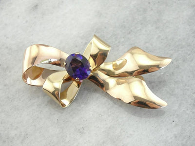 Retro Era: Flowing Ribbons and Amethyst Pin