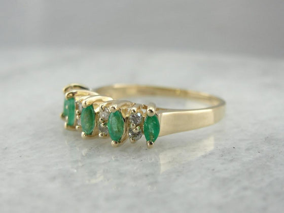 Diamond and Emerald Wedding Band or Stacking Ring