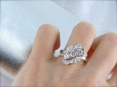 Amazing Retro Era 1950's Diamond Cocktail Ring, Bypass Style in White Good from the Hollywood Regency Era