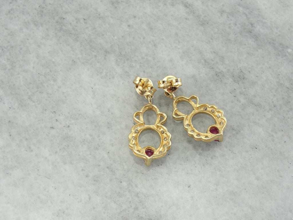 Vintage Ruby and Diamond Drop Earrings