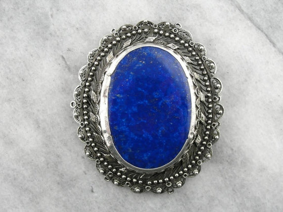 Edwardian Silver Brooch with Lapis Lazuli