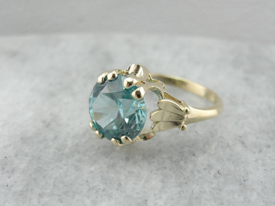 The Hazel Bright Blue Zircon Cocktail Ring from The Elizabeth Henry Collection