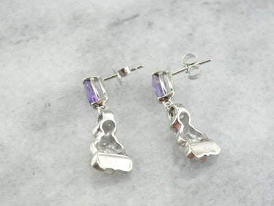 Beautiful Amethyst and Diamond Drop Earrings