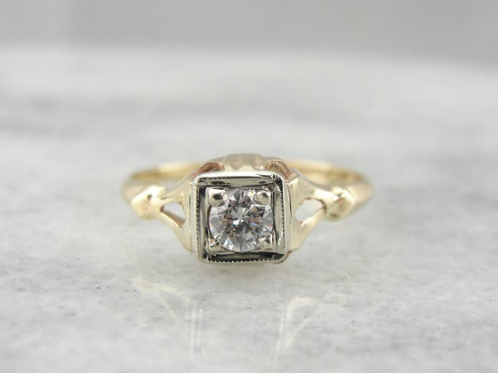 Retro Era Diamond Engagement Ring with Unusual Style