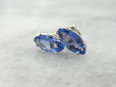 Marquise Cut Tanzanite Stud Earrings in White Gold