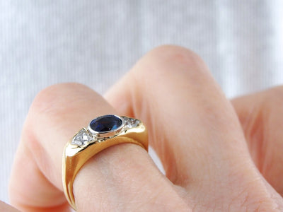 Two Tone East to West Sapphire Ring