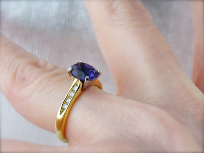 Deep Purple Sapphire and Diamond Engagement Ring