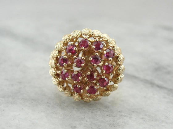 Suit the Mood: Interchangeable Vintage Sapphire or Ruby Cluster Cocktail Ring