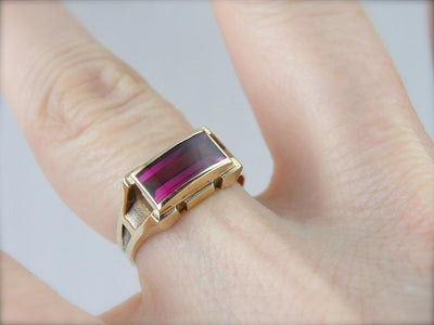 Retro Era Synthetic Ruby Cocktail Ring
