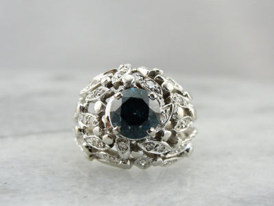 Gorgeous Blue Zircon Vintage Cocktail Ring