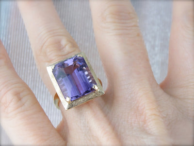 1970's Amethyst Cocktail Ring with Perfect Brushed Finish, Yellow Gold Frame