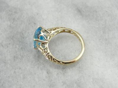 Contemporary Filigree, Blue Topaz Statement Ring in Yellow Gold