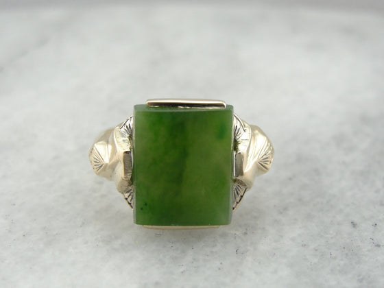 Vintage Jade Ring From the 1940's Retro Era, Small Enough for Pinky Ring or Ladies Hand