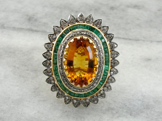 Jaw Dropping Vintage Citrine Diamond and Emerald Statement Ring