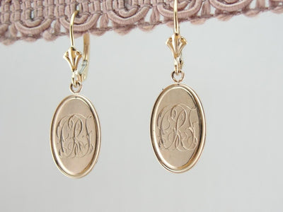 French Script CRL Monogramed Earrings