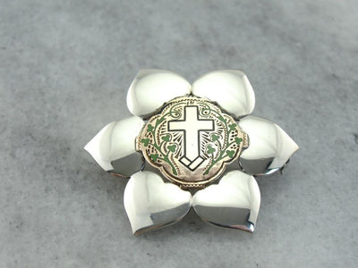 Sterling Flower Brooch with Vintage Rose Gold & Enamel Cross Center