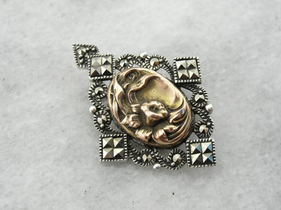 Art Nouveau Floral Center Marcasite Brooch or Pendant