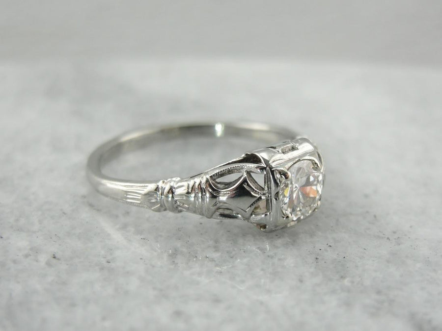 1930's: Dazzling Late Art Deco Diamond Engagement Ring