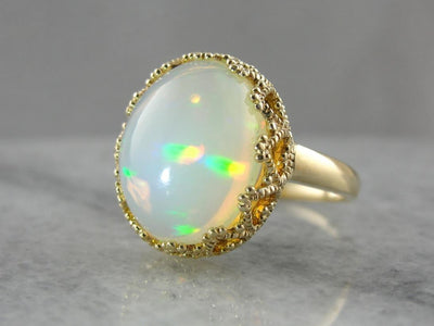 Mid-Century Opal Cabochon Cocktail Ring