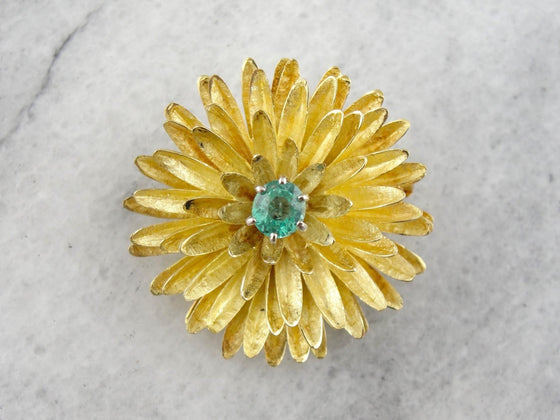 Flower Brooch with Bright Emerald Center, Textured High Karat Yellow Gold