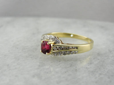 Red Ruby and Diamond Bypass Ring in Yellow Gold, Contemporary Piece