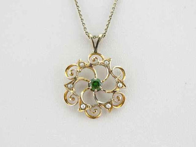 Antique Starburst Pendant with Pearls and Green Garnet