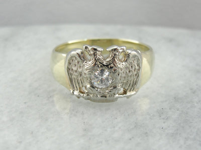Diamond, Masonic Double Headed Eagle Ring, Scottish Rite
