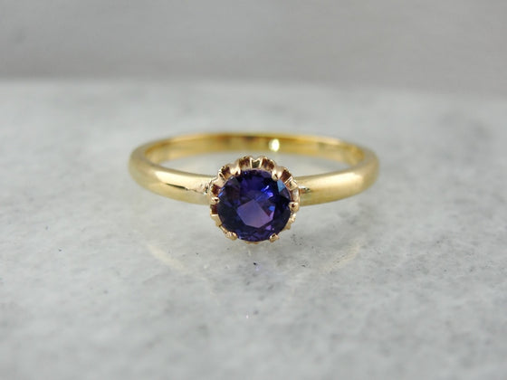 Blue Purple Round Sapphire Solitaire in Antique Victorian Mounting, Simple Stackable Engagement Ring