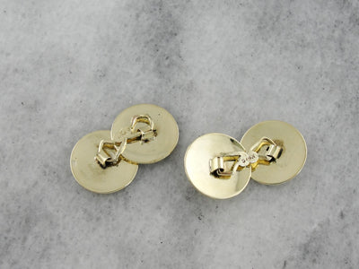 Green Gold Cufflinks, Engraved Circular Discs from the Late Art Deco Period