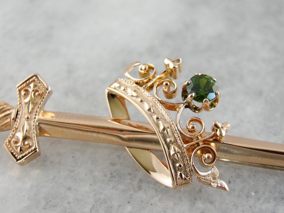 Sword and Crown Royalty Brooch with Demantoid Garnet Accent Stone in Rose Gold