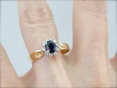 Pretty and Classic Sapphire and Diamond Anniversary Ring