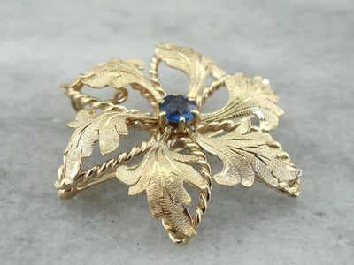 Vintage Floral Brooch or Pendant with Sapphire Center