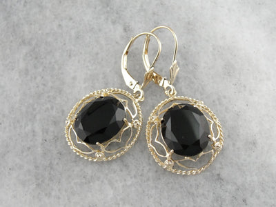 Filigree Faceted Black Onyx Drop Earrings