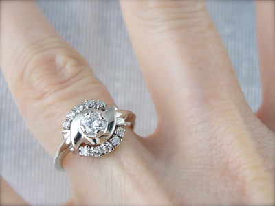 Retro Era Diamond Cocktail Ring From the 1950's, Polished White Gold Bypass and Semi Halo Ring