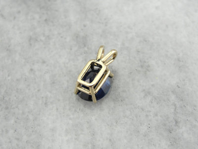 Navy Blue Sapphire and Diamond Drop Pendant