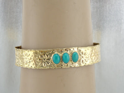 Fine Turquoise and Rustic Daisy Bangle Bracelet in High Karat Yellow Gold