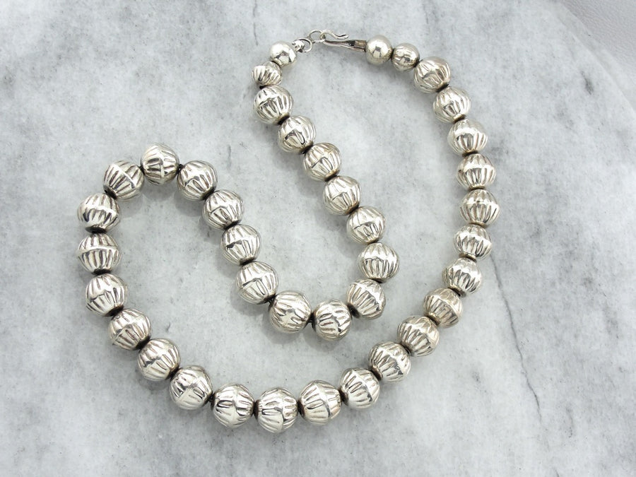 Sterling Silver Decorative Beaded Necklace from the American Southwest