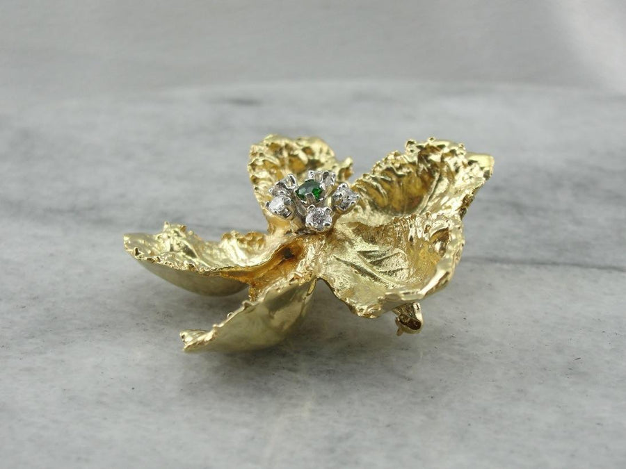 Finely Crafted Three Dimensional Floral Brooch, Demantoids and Diamonds