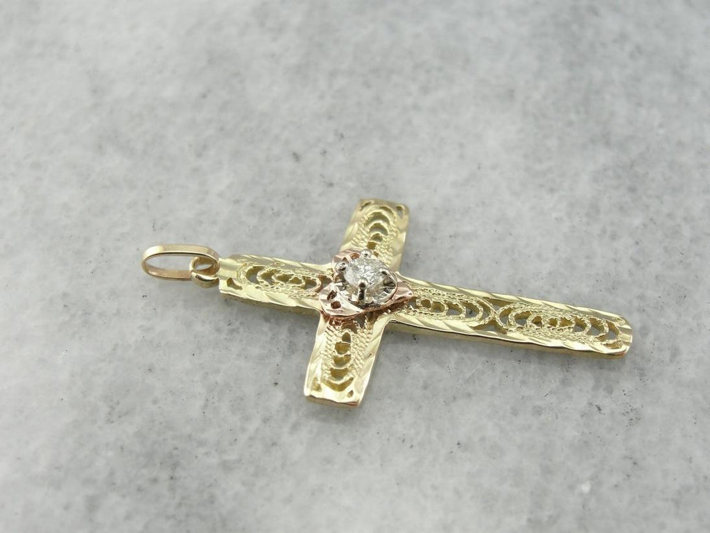 Lovely Filigree Gold Cross with Diamond Center