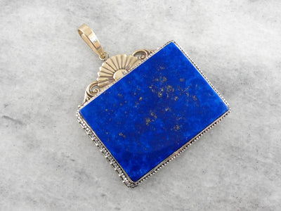 Our Finest Lapis Lazuli Pendant, Art Nouveau Era Upcycled Mixed Metal Pendant
