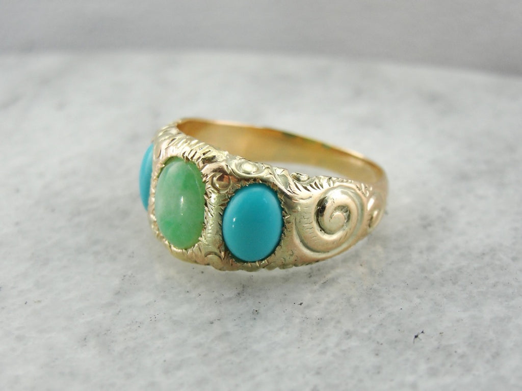 Victorian Chased Jade and Persian Turquoise Three Stone Band or Ring