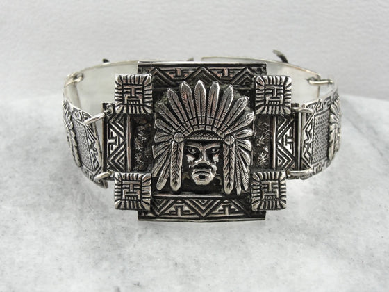 Ornate Argentinian Lama and Chief Panel Bracelet, Link Bracelet