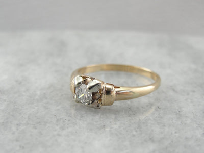 Vintage Diamond Solitaire Engagement Ring, Set Close to the Hand for Comfort