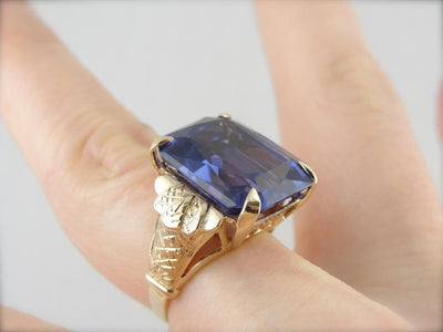 Bold Color Change: Alexandrite Cocktail Ring, Vintage Synthetic with Strong Color Change