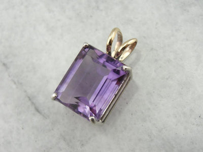 Amethyst and Sterling Pendant, Two Tone and Easy to Wear!