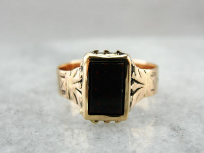 Victorian Bloodstone and Rose Gold Ring