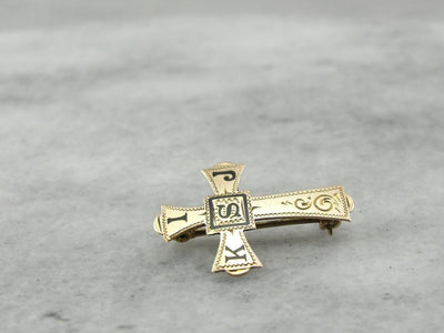 Enameled Cross Pin with KIJS Letters